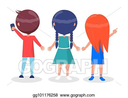 Vector view on best. Friendship clipart back to back