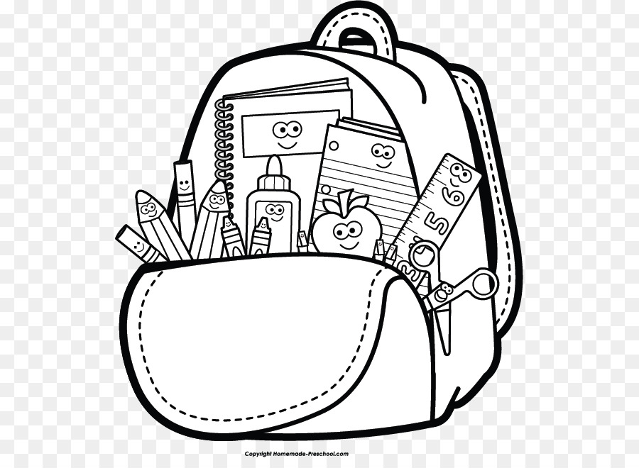 Student school clip art. Back clipart black and white