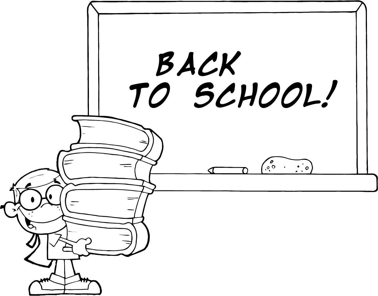 Image of to school. Back clipart black and white