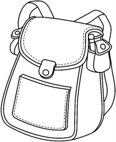Bag clipart outline school. Back to black and