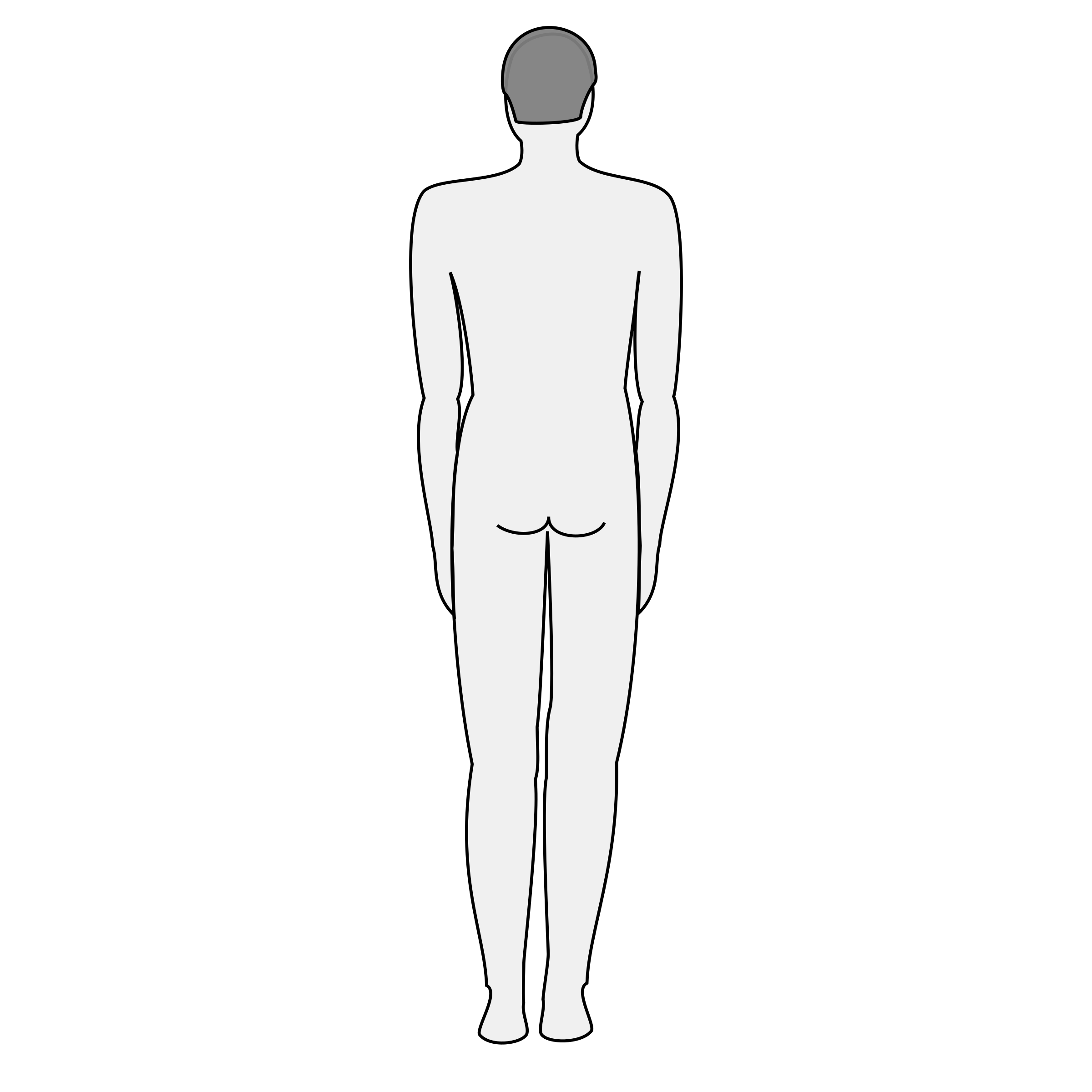 Male silhouette big image. Back clipart body back