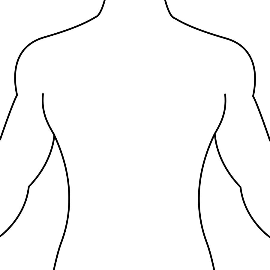 Outline medical front and. Back clipart body back