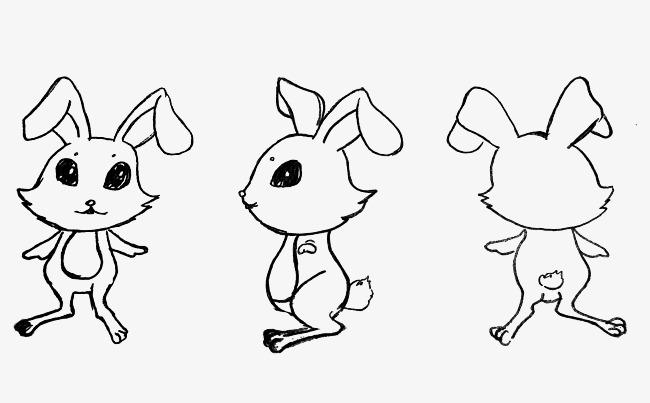 Front side pattern black. Back clipart bunny