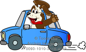 Cartoon puppy waving from. Back clipart car