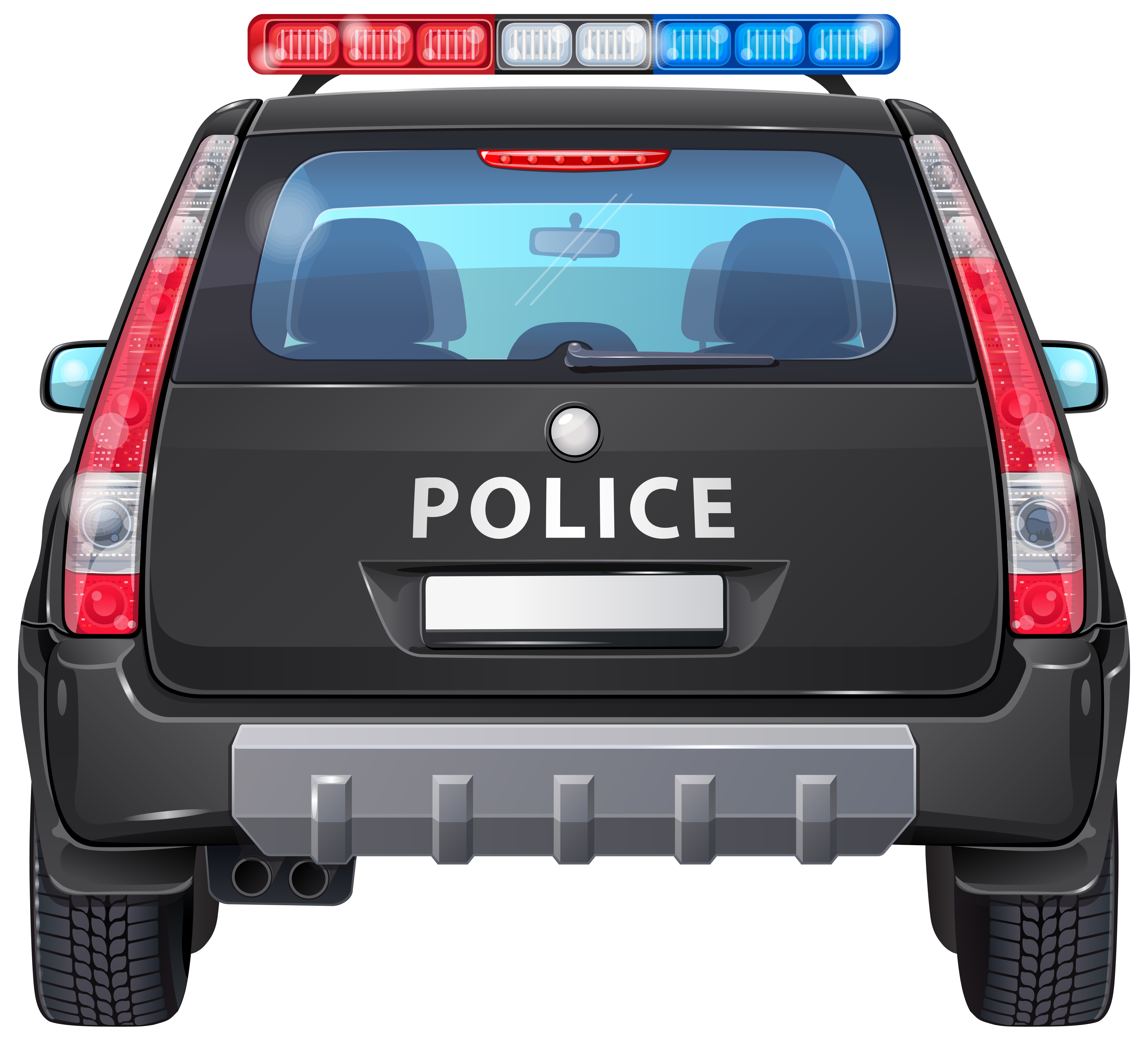 Police car back png. Clipart cars transparent background