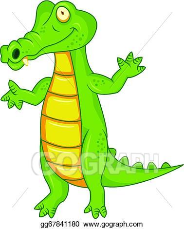 Back clipart crocodile. Eps vector cartoon stock