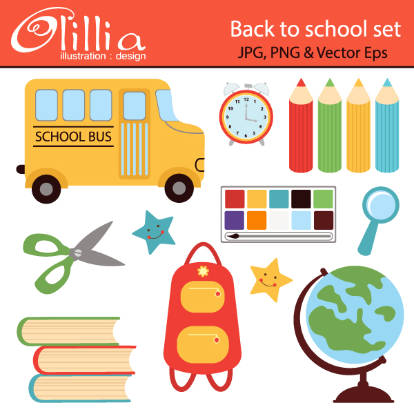 Back clipart cute. School to set includes