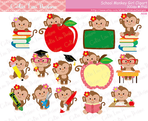 Back clipart cute. School monkey girl to