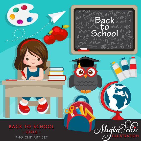 To school students black. Back clipart cute