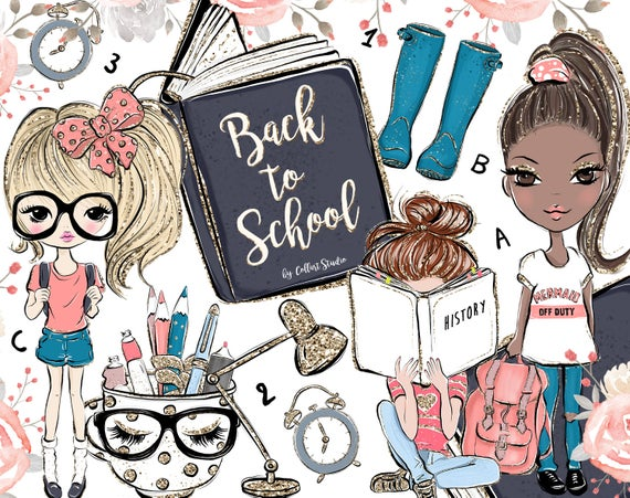 Back clipart cute. To school girls clip