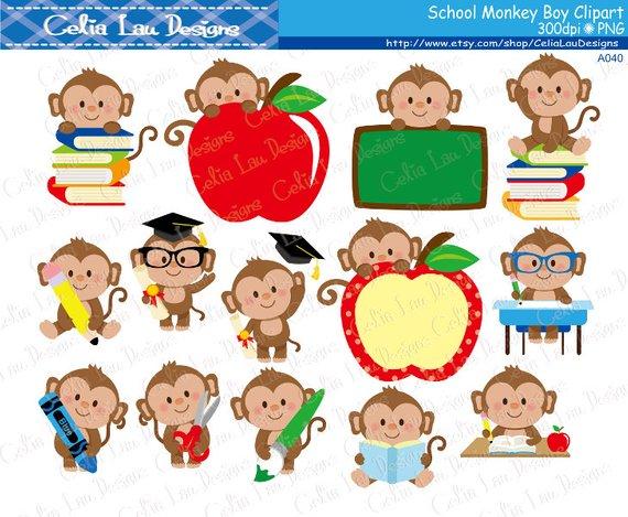 Monkey clipart school. Boy cute back to
