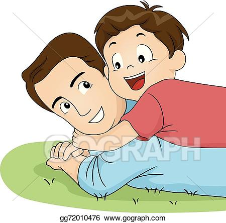 Eps vector dad hug. Father clipart father and son