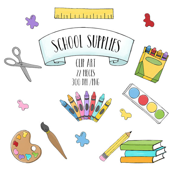 Back clipart educational. School supplies to hand