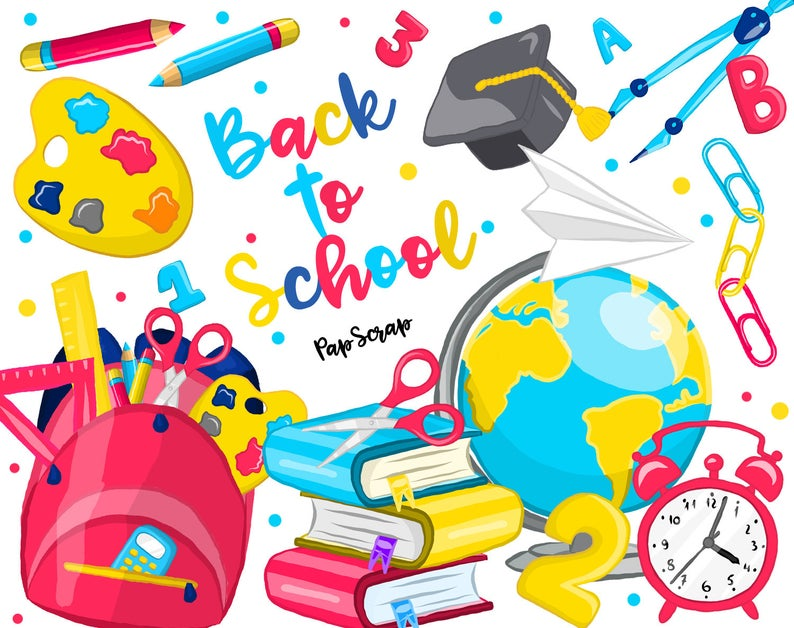 To school clip art. Back clipart educational
