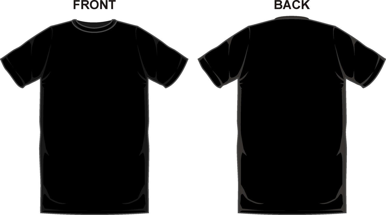 Black t shirt template. Back clipart front back