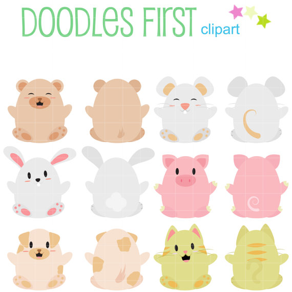 Cute animals and clip. Back clipart front back