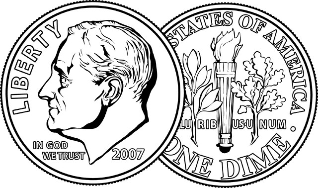 Back clipart front back. Dime and how to