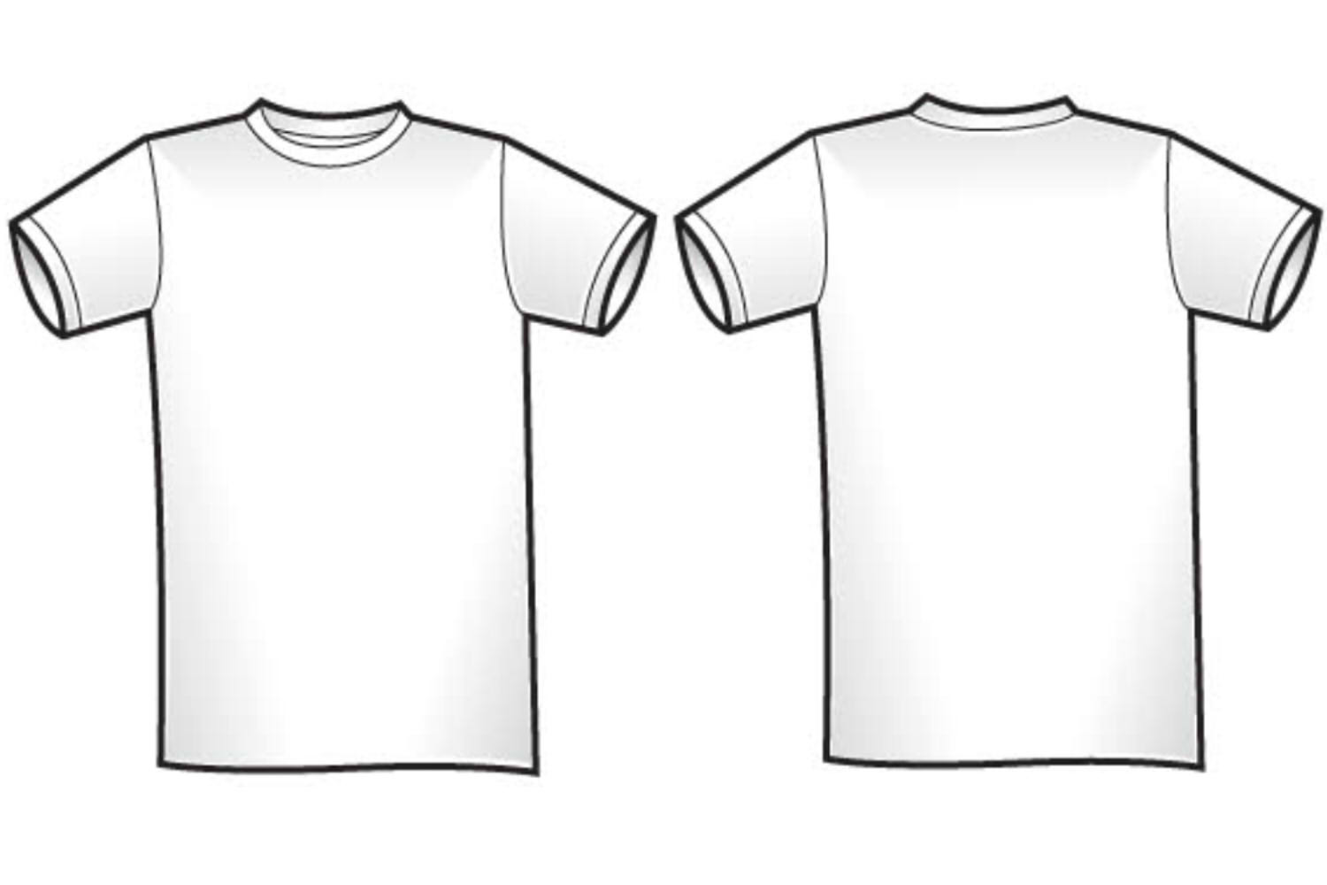 Back clipart front back. White t shirt and