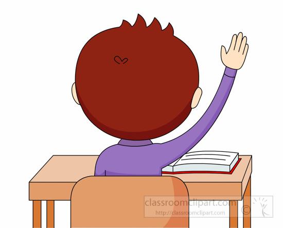 Back clipart hand. School student raising pose