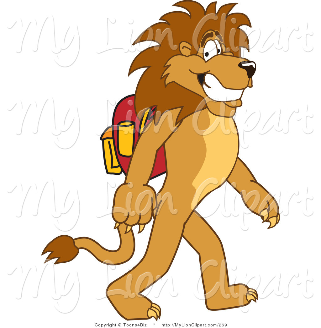 Back clipart lion. Of a smiling character