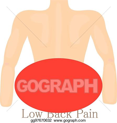 Back clipart low back pain. Vector stock icon cartoon