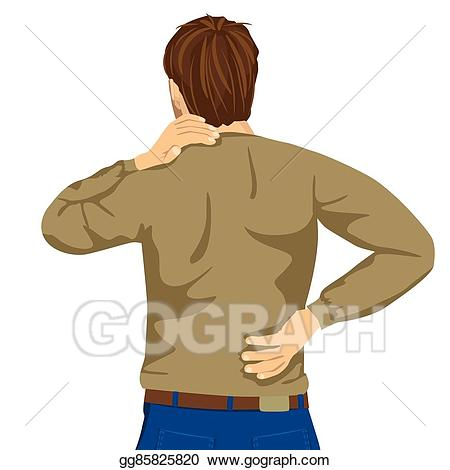 Eps illustration young man. Back clipart muscle pain