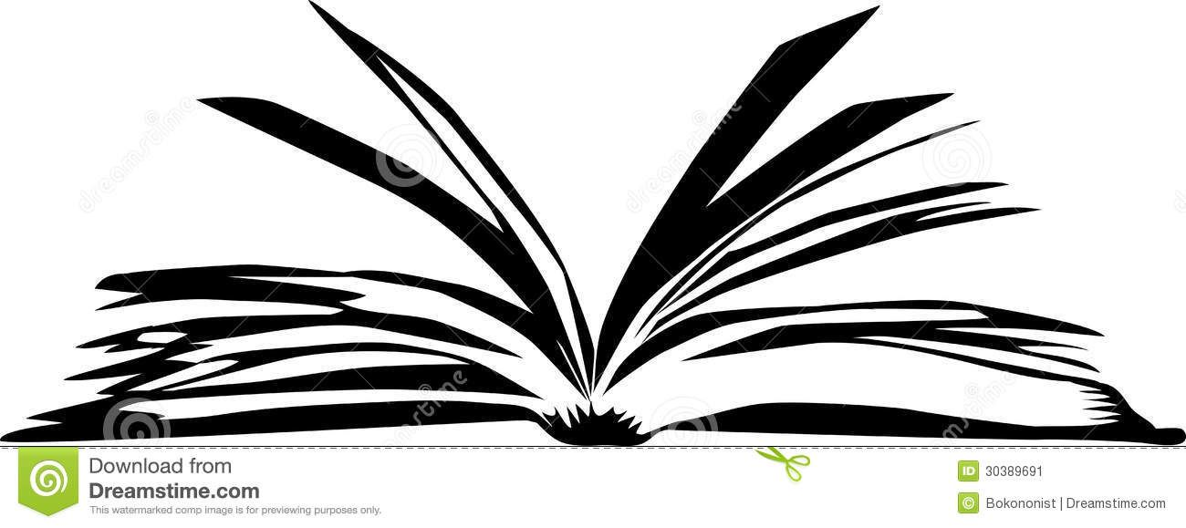 Black and white cliparts. Book clipart open book