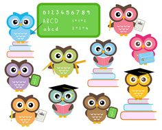Back clipart owl. Clip art digital for
