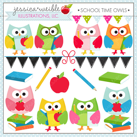 School time owls cute. Back clipart owl