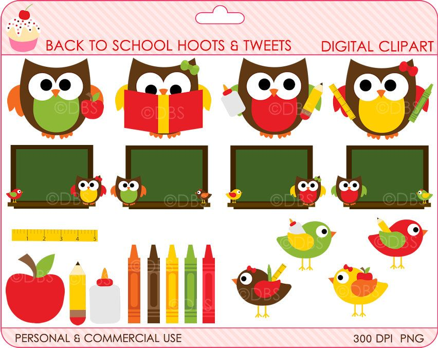 School owls birds clip. Back clipart owl