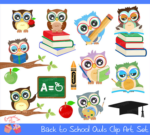 To school owls set. Back clipart owl