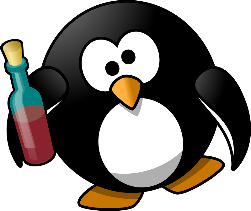 Back clipart penguin. Openclip art drunk download
