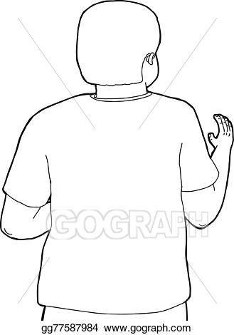 Back clipart person. Vector art rear view