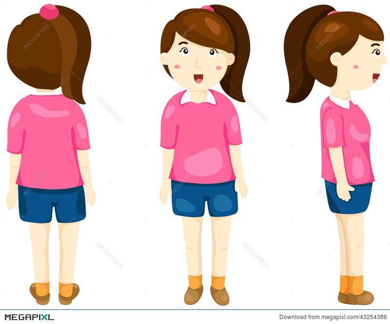 Cute girl posing front. Back clipart person