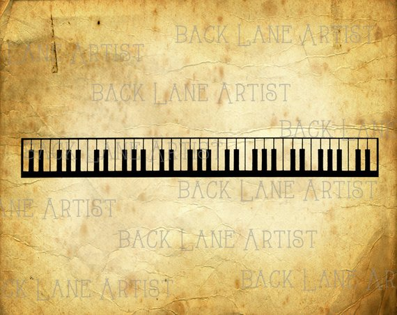 Vintage keyboard music border. Back clipart piano