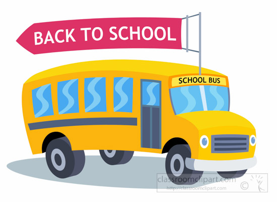 Back clipart school bus. With rooftop flying banner