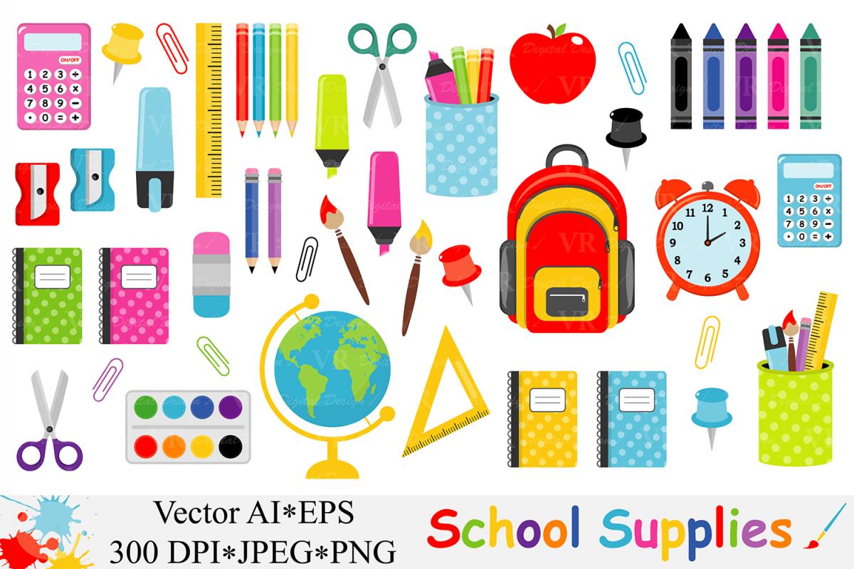 School supplies to design. Back clipart vector
