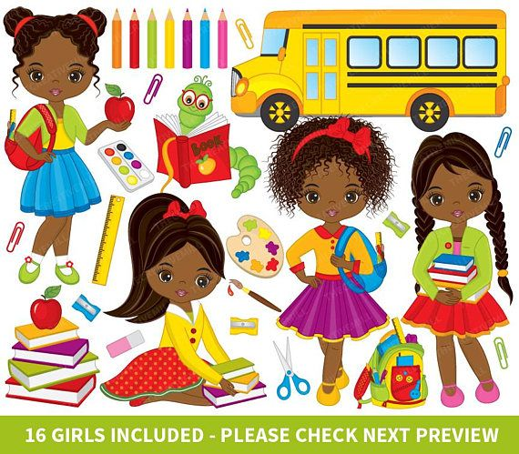 To school african american. Back clipart vector