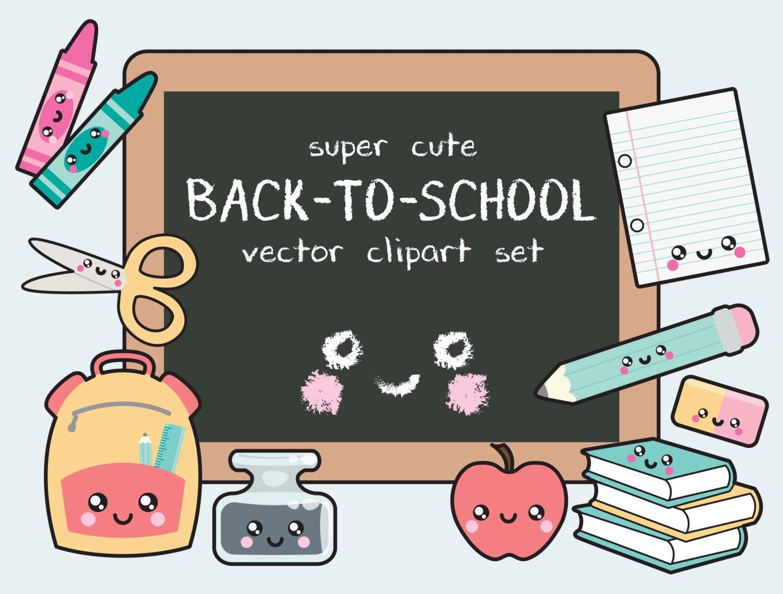 Back clipart vector. Premium kawaii to school