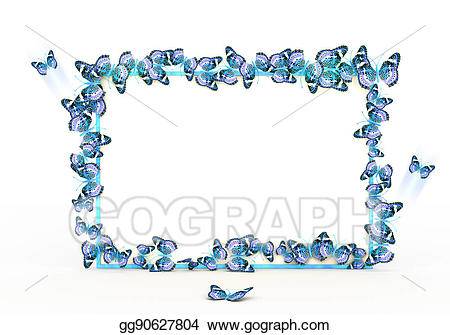 Stock illustration colorful butterflies. Background clipart border