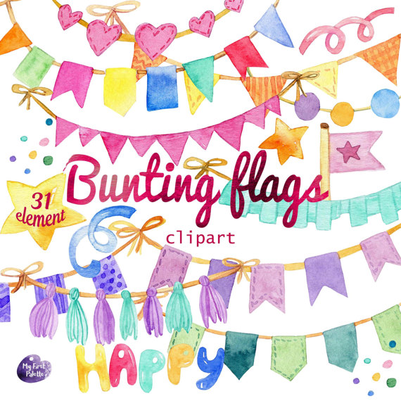 Watercolor bunting flags birthday. Celebrate clipart transparent background