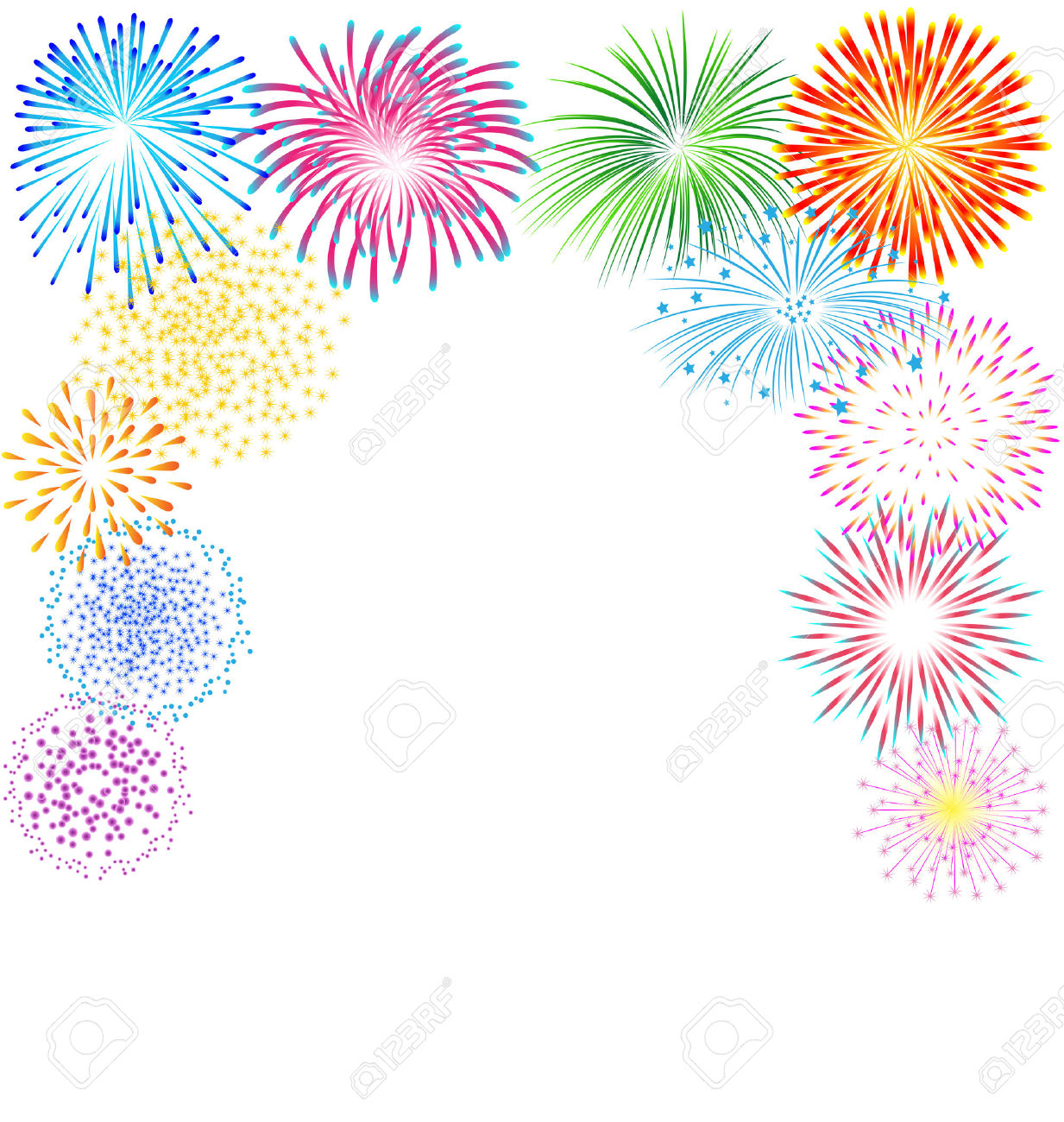 Colorful firework pencil and. Background clipart celebration