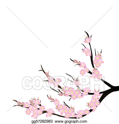 Stock illustration branch over. Background clipart cherry blossom