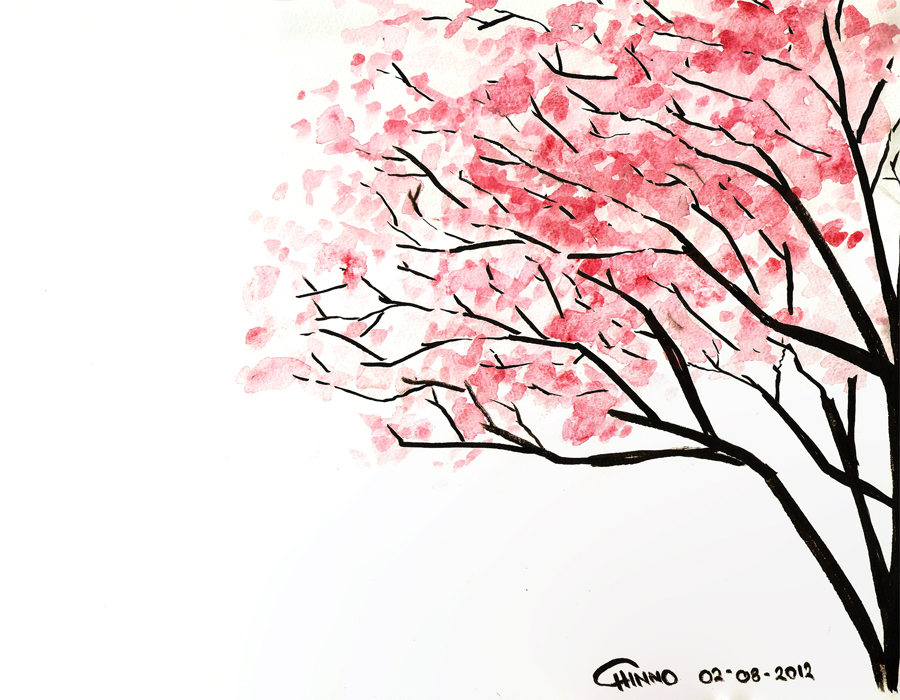 Sakura tumblr backgrounds pencil. Background clipart cherry blossom