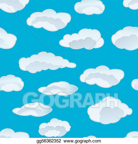 Vector art seamless drawing. Background clipart cloud