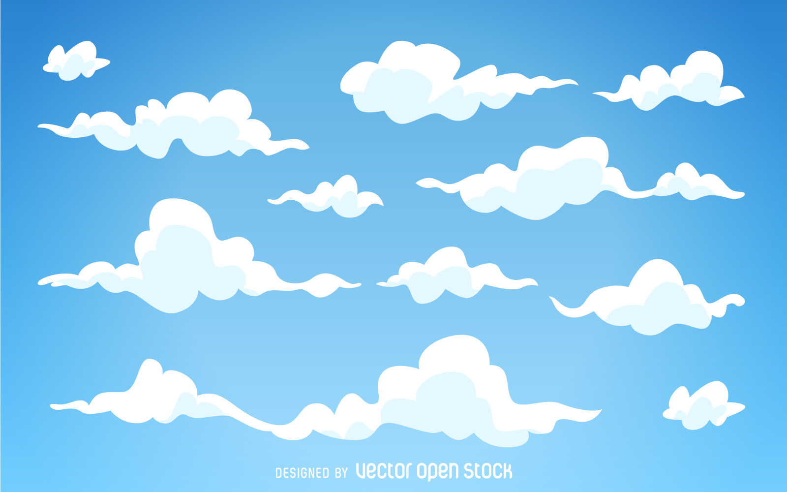 Illustrated cartoon clouds vector. Background clipart cloud