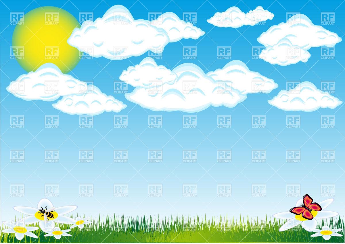 Background clipart cloud. Sun clouds grass