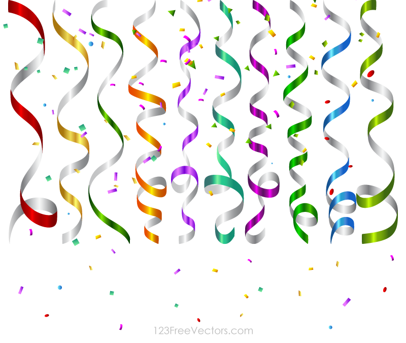 Birthday clipart confetti. Vector colorful party streamers