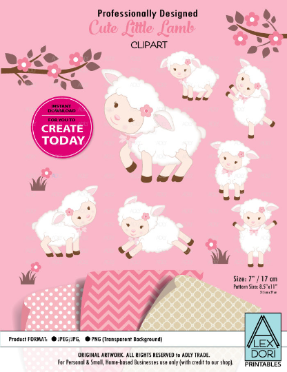Background clipart cute. Lamb sheep girl pink