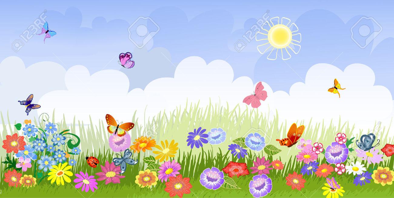 . Background clipart flower garden